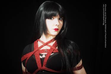 Shibari girls: red ropes by LadyEndora
