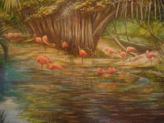 Flamingo Gardens by Wildatart24
