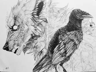 The Wolf and the Raven by BrayanaOLich