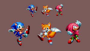 Sonic Mania Ending Poses in Pixel form by DOA687