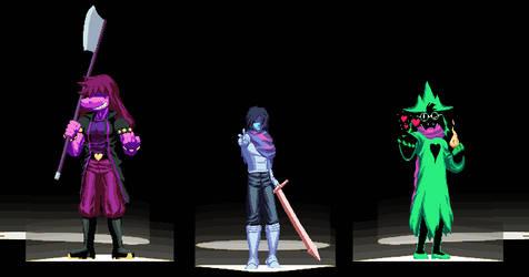 deltarune fanart - the main three heroes by DOA687
