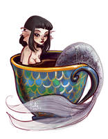 coffeecup mermaid by Fukari
