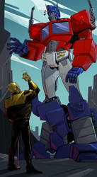 Optimus and Bee by Arrancar4ik