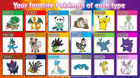 Favorite Pokemon of each Type by blaa6