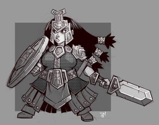 Dwarf Sheildmaiden by cwalton73