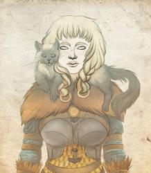 Viking Girl and a cat by Asrafarel