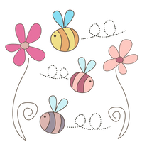 Cute Flowers and Bees PNG by HanaBell1