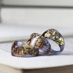 Pale Purple Resin Rings - With Bronze Flakes by candymax