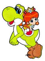 Yoshi and Baby Daisy by SilverxYoshi