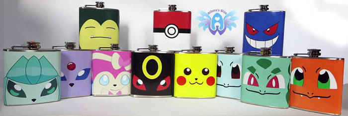 Pokemon inspired flasks! by Athena1chan