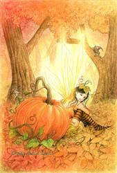 Fairy and pumpkin by llamadorada