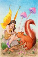 Fairy and squirrel by llamadorada