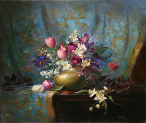 Patricia Rohrbacher - Tulips and Siberian Iris by OilPaintersofAmerica