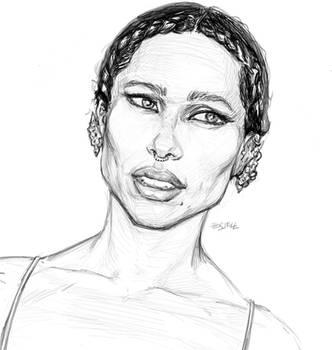 Zoe Kravitz Warm up sketch by Izryell