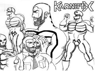 1960s body-builder Karnifex - biro sketch by M3Gr1ml0ck