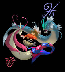 Pisces- Milotic and Gyarados by TheCrownedHeart
