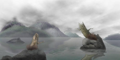 Misty Lake by shishkababoo