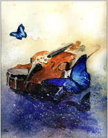 Still life with violin by sanderus