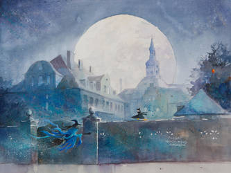 The night cityscape with the flying witch by sanderus