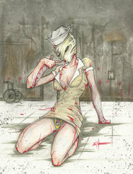 Silent Hill pin-up nurse by ChrisOzFulton