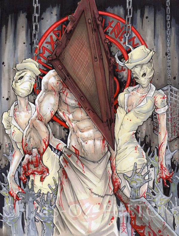 Pyramid Head  and Nurses Silent Hill by ChrisOzFulton