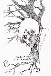Hobo Heart Creepypasta Pen And Ink by ChrisOzFulton