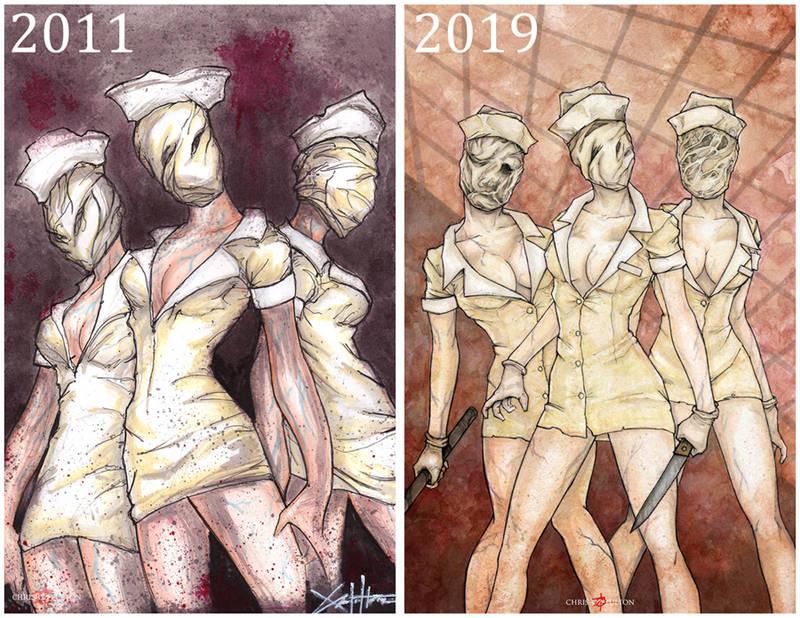 Silent Hill Nurses Side By Side by ChrisOzFulton