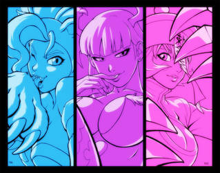 Ladies from Darkstalkers by KevinRaganit
