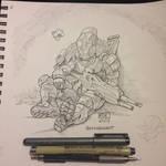 Tired Titan ink by KevinRaganit