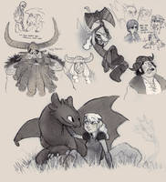 HTTYD fan art doodles by luve