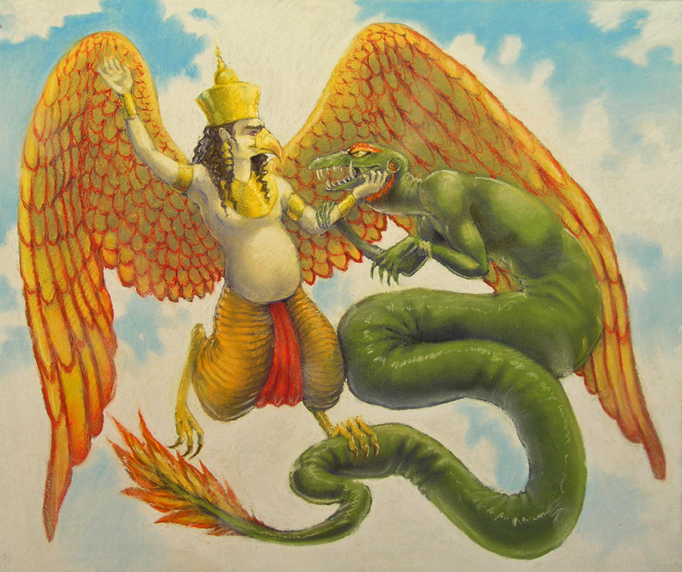 Garuda subduing a serpent by luve