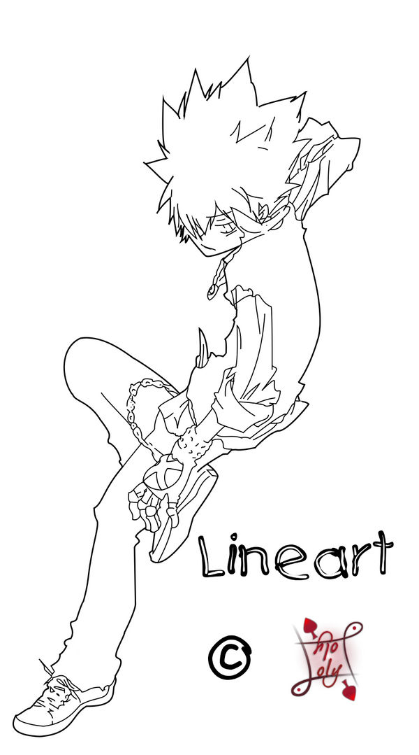 KHR Lineart - Tsuna for G-F by Lolker-chan