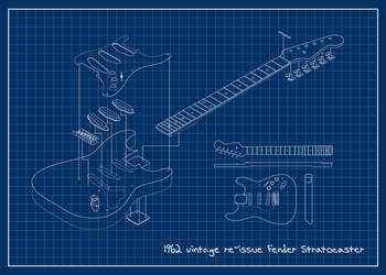 '62 Fender Stratocaster Blueprint by jvandalist