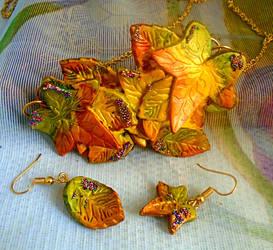 Polymer Clay Autumn Leaf Jewellery Set by aldcord