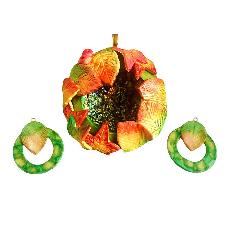 Polymer Clay and Alcohol Ink Autumn Jewellery Set by aldcord