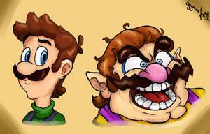 Super Mario : Luigi and Wario by EggmanFan91