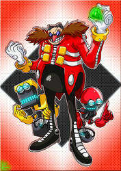 Sonic the Hedgehog : Dr Eggman, Orbot and Cubot by EggmanFan91