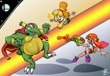 SSB Ultimate : K.Rool vs Isabelle and Inkling girl by EggmanFan91