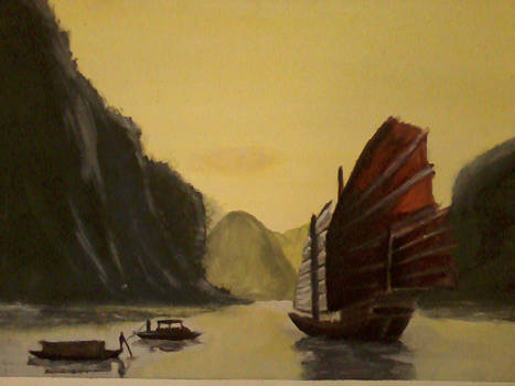 Landscape of a Chinese Junk Ship by Bear-Giggles