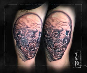 Undead Zombie Face Guy-Apprentice tattoo by Illusions-of-TV