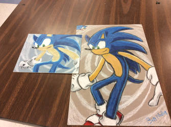 My two Sonic The Hedgehog Drawings by GOLDENDOCTOR1