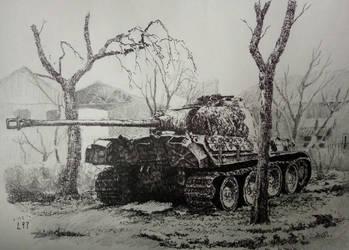 destoried panzer V (black ball pen work) by lhlclllx97