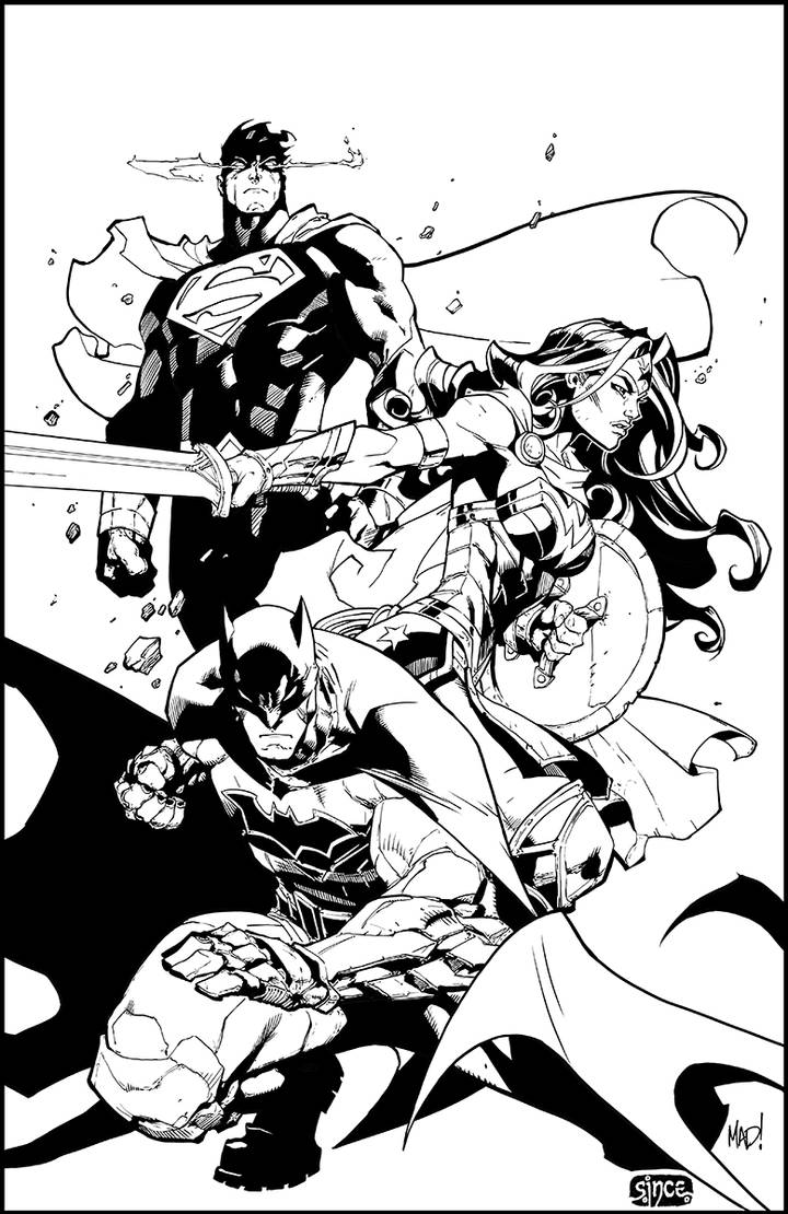 Justice League inking by Smoozles