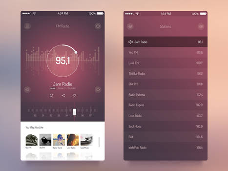 Free FM Radio App. PSD Template by Designhub719