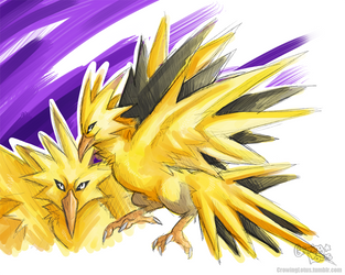 Pokemon: Zapdos by grinningLotus