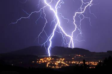 Lightning Strike Above the Village by FlorentCourty