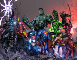 JLA and AVENGERS Colored by jey2dworld