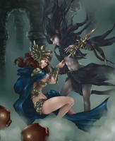 Atenea Vs Thanatos fanart mitos y leyendas by YunaXD