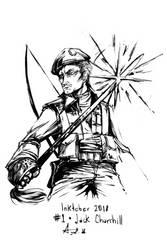 Inktober 01 Jack Churchill by YunaXD