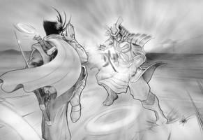 Strider vs Silver Samurai by clarkspark